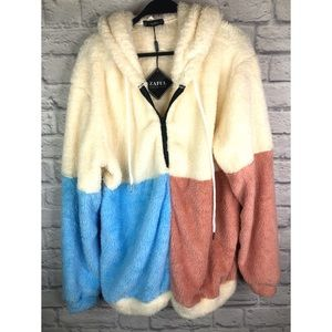 Zaful Forever Young Fuzzy Jacket *free Urban hat